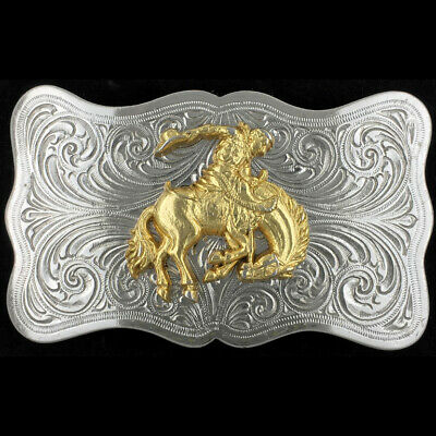Vtg Bucking Bronco Horse Rodeo Equine Nature Western Cowboy Cowgirl Belt Buckle
