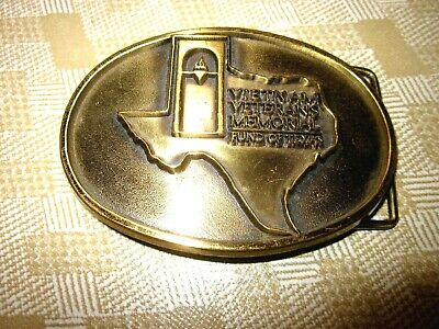 Unique Texas Vietnam Veteran Belt Buckle 1970's Memorial Fund # 2129 of 3406