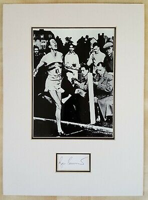 ROGER BANNISTER Signed index card & Mounted Picture,  with COA