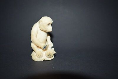 Netsuke, Affe mit Oktopus, fossiles Material, sign. 52mm