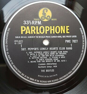 The Beatles Sgt.Peppers Lonely.... PMC 7027 1-1 Mono 1st UK VG+/VG+