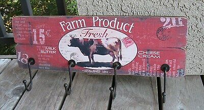 Dairy Milk COW Wall Hat/Coat Rack/SIGN*Primitive French Country Farmhouse Decor