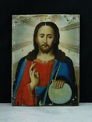 Antique 19th Russian Hand Painted Wooden Orthodox Icon of Jesus Christ