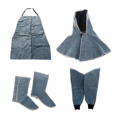 Work Apron for Men Women+Welding Hood+Shoes Protector+Protective Sleeve,Blue