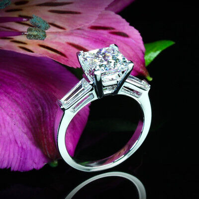 Solitaire 1.45 Carat VS2/H Princess Cut Real Diamond Engagement Ring White Gold