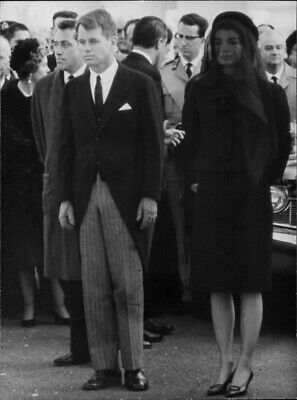 Bobby Kennedy standing with Jackie Kennedy at funeral of JFK Kennedy. - 8x10 pho