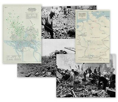 Raf Memorabilia Battle Of Hamburg 1943 Two Maps And Three Images 60 Years Old