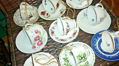 Pretty Vintage China Hanging Tea Cup & Saucer Bird Feeders