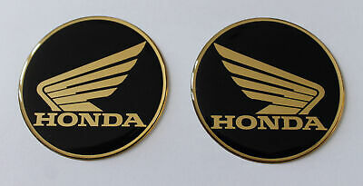 Honda Wings stickers/decals - 60mm gold & black - HIGH GLOSS DOMED GEL FINISH