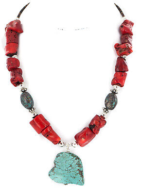 $270Tag Silver Certified Navajo Spiderweb Turquoise Coral Necklace 24511-2