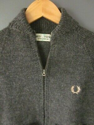 VTG 60s FRED PERRY KNITTED CARDIGAN (YOUTH?) GREY WOOL JUMPER POLO - Excellent v