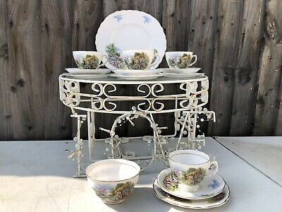 4 x Royal Vale Country Cottage Tea Cup, Saucer & Plate Trio Bone China Set