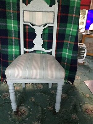 Antique Wooden Upholstered Chair Made To Look Shabby Chic With 2 Castors