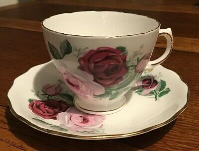 Royal Vale Bone China Red And Pink Roses Cup And Saucer 1913-53