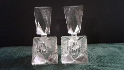 Pair Perfume Bottles Clear Crystal Triangle w/ Sunburst Design, Unmarked