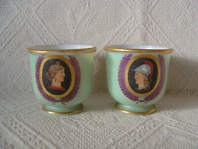 Pair Of Antique French Glass Cups / Cache Pots - Portraits