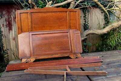Antique Louis XV Style Vintage French Carved Solid Oak Double Bed Frame for SALE