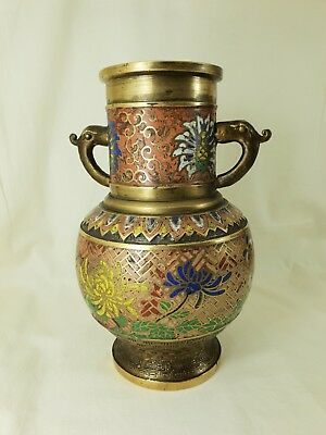 Old Japanese Brass Vase With Cloisonne Decoration.