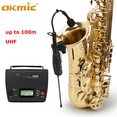 Professional Wireless Microphone System UHF For Violin Saxophone Guitar Bass New