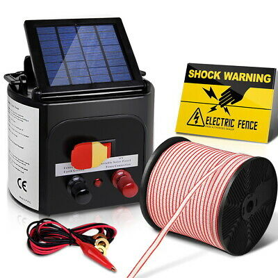 Solar Powered Fence Energiser 0.1J Electric Fencing Charger with 400M Polytape