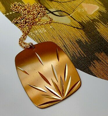 Vintage Modernist Retro Gold Stainless Steel Eloxal Pendant On Chain Necklace 3