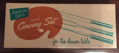"""Vintage """"American Maid"""" Utica Cutlery carving knife set 1950s NY in original box"""
