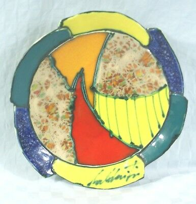 Signed Art Pottery Italian Hand Painted Pottery Ceramic Patchwork Plate/Bowl