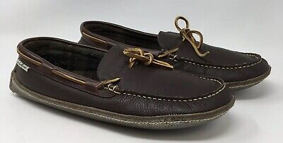 83a3ea930423 LL Bean Mens Handsewn Plaid Lined Moccasin Slippers 0WS7104 Brown US Size 11  M