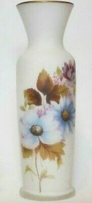 Mid Century White Frosted Satin Glass Vase, Vintage 1950s, Daisies, Flowers