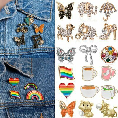 Chic Rainbow Animals Enamel Piercing Small T-Shirt Brooch Pin Badge Friend Party
