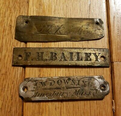 3 Early 19th Century American Name Plate Tags Amesbury MA Antique