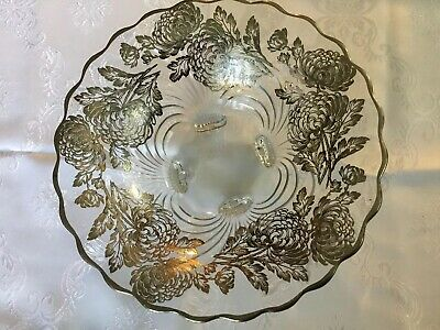 STERLING SILVER Flower Overlay Crystal fruit footed bowl