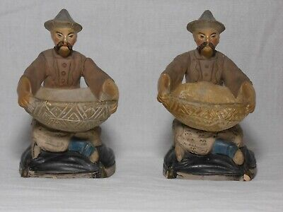 Rare 18th Century Pair of French Painted Terracotta Chinoiserie Figures