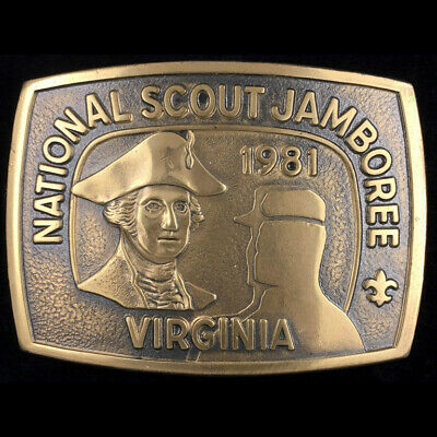 Vtg 1981 Bsa National Scout Jamboree Virginia Boy Scout Brass Belt Buckle