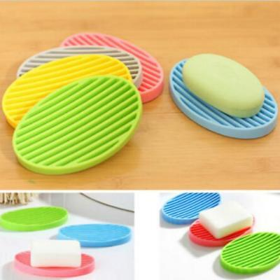 Flexible Bathroom Silicone Soap Dish Storage Soapbox Plate Tray Drain Box WE