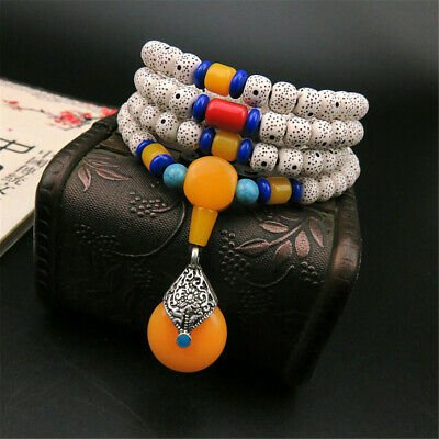Buddha Sanda EbonyWood Tibet Buddhist Prayer Beads Mala Bless Bracelet ML23