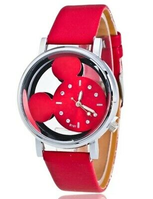 Mickey Mouse Red Leather Band Wrist Watch