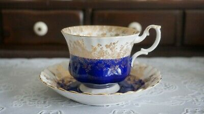 VINTAGE Royal Albert Regal Series Blue w/Gold Accents Cup & Saucer, England