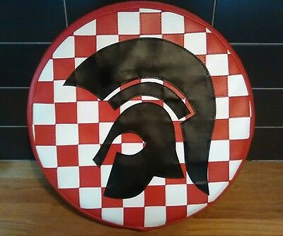 Red/ White Trojan Check Scooter Wheel Cover