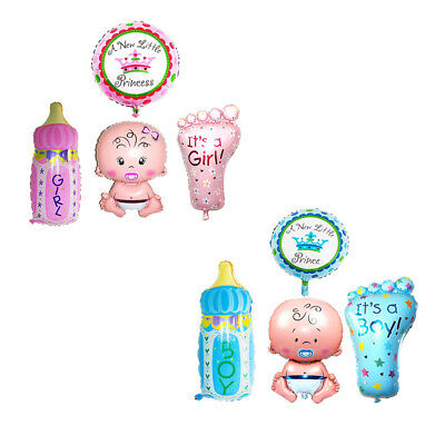 8pcs Baby Theme Foil Balloon Baby Shower Birthday Party Decoration Pink+Blue