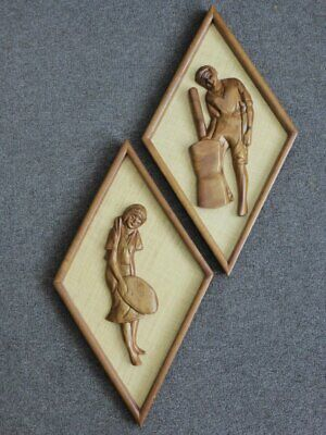 Pair of Carved Pictures Mounted on Hessian with Timber Frames Mid Century Modern