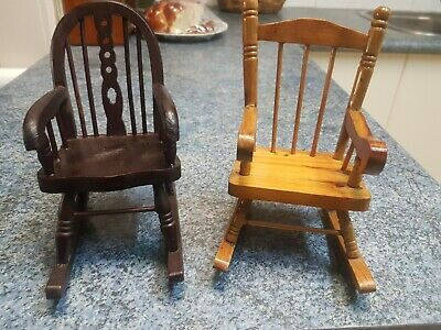 2 x Miniature Wooden Rocking Chairs for Teddy Bear/Doll
