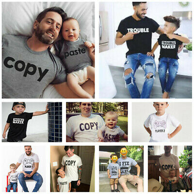 Parent-Child Set Father & Son Family Matching Summer Clothes T-shirt Tee Tops