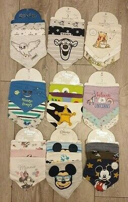 PRIMARK OWN DISNEY Baby Girls Baby Boys BANDANA BIBS Unisex 3 Pk Gift NEW
