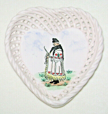 Antique German Porcelain Heart Shape Basket Strand Dish Hand Painted by Voigt