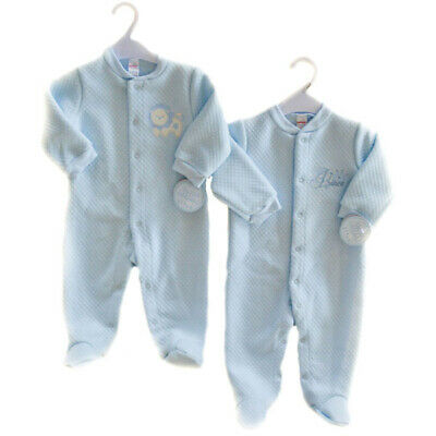SOFT TOUCH QUILTED SLEEPSUIT/BABYGROW WITH EMBRIODERY 0-9mth Blue Prince or Lion