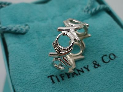 Tiffany & Co. P. Picasso Sterling Silver Size 8 Love Hugs & Kisses XO Band Ring