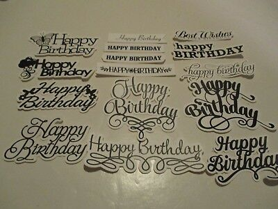 30 Printed Happy Birthday Sentiment Die Cuts.................cardmaking