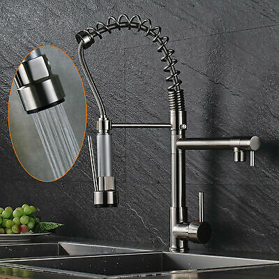 Stainless Steel Kitchen Sink Faucet Single Handle Brushed Nickel Pull Down Spray