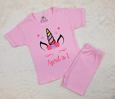 Personalised Name is 1 Unicorn Shorts Pyjamas Children's Birthday Pjs Girls Pjs
